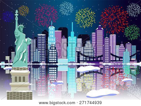 new year background new york city with fireworks cityscape building line new york city and