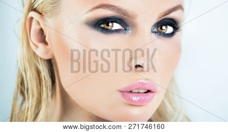 Beautiful Woman Face. Portrait Of A Girl. Blonde Female. Horizontal Portrait Of Pleasant-looking Cau