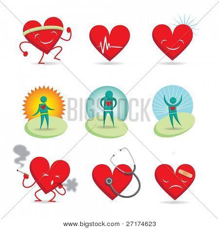 Set of 9 emoticons; 3 healthy happy hearts, 3 sick sad hearts and 3 wellness characters