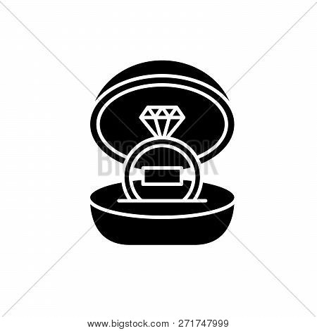 Marriage Ceremony Black Icon, Vector Sign On Isolated Background. Marriage Ceremony Concept Symbol,
