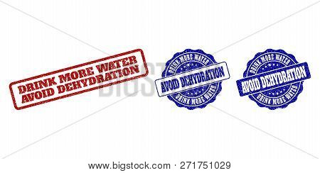 Drink More Water Dehydration Grunge Stamp Seals In Red And Blue Colors. Vector Drink More Water Dehy