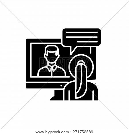 Online Negotiations Black Icon, Vector Sign On Isolated Background. Online Negotiations Concept Symb