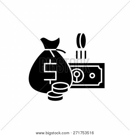 Cash Money Black Icon, Vector Sign On Isolated Background. Cash Money Concept Symbol, Illustration