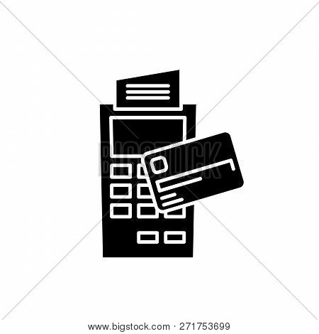 Payment By Non-cash Money Black Icon, Vector Sign On Isolated Background. Payment By Non-cash Money