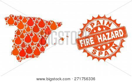 Fire Hazard Collage Of Map Of Spain Burning And Scratched Seal. Map Of Spain Vector Collage Formed F
