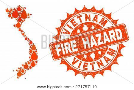 Fire Hazard Collage Of Map Of Vietnam Burning And Textured Stamp Seal. Map Of Vietnam Vector Collage