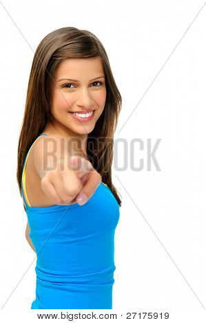 laughing beautiful woman points towards camera isolated on white