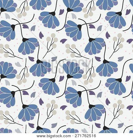 Sweet Flowers Seamless Pattern. Blue Color Flower Pattern.