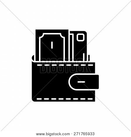 Wallet With Cash Black Icon, Vector Sign On Isolated Background. Wallet With Cash Concept Symbol, Il