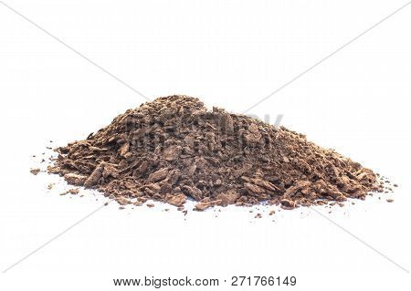 Brown Earth On White Background. Natural Soil Texture. Pile Heap Of Soil Humus Isolated On White Bac