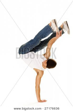 breakdancer does moves while perfoming a hand stand poster