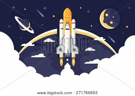 Space Shuttle Takes Off, Rocket From Earth Into Space And Flights Among Stars. Concept Aircraft For