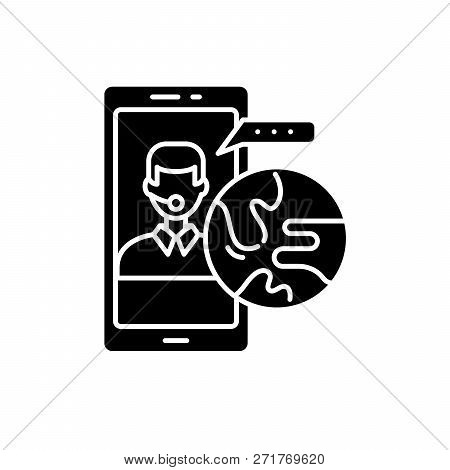 Global Communication Black Icon, Vector Sign On Isolated Background. Global Communication Concept Sy
