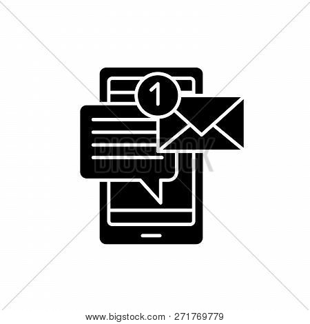 Mobile Chat Bot Black Icon, Vector Sign On Isolated Background. Mobile Chat Bot Concept Symbol, Illu
