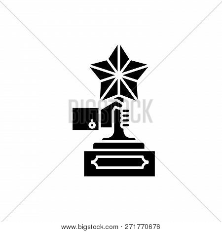 Achievement Award Black Icon, Vector Sign On Isolated Background. Achievement Award Concept Symbol,