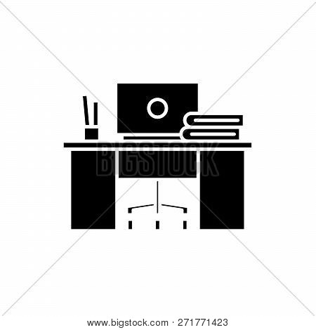 Coworking Black Icon, Vector Sign On Isolated Background. Coworking Concept Symbol, Illustration