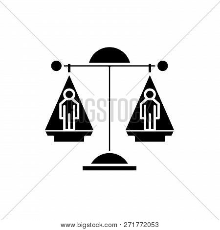 Legal Decision Black Icon, Vector Sign On Isolated Background. Legal Decision Concept Symbol, Illust