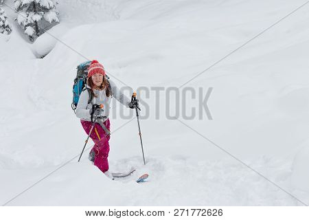 Woman Skier Freerider Skitur Uphill In Snow In Winter Forest