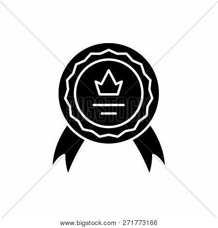 Achievement Black Icon, Vector Sign On Isolated Background. Achievement Concept Symbol, Illustration