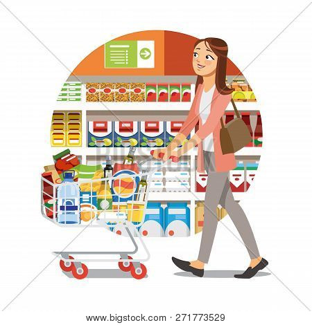 Young Woman Walking With Supermarket Cart Full Of Food And Drinks Near Shelves With Food Products Ca