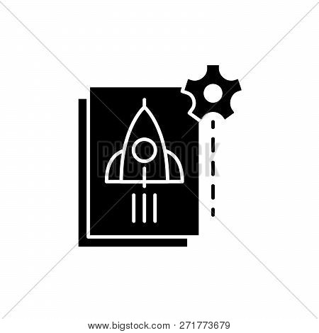 Startup Startup Black Icon, Vector Sign On Isolated Background. Startup Startup Concept Symbol, Illu