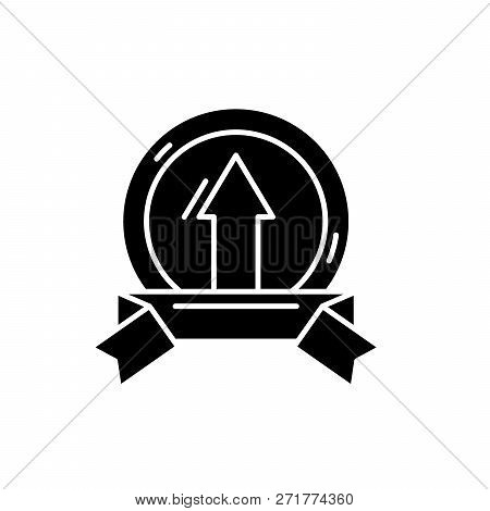 Achieving Success Black Icon, Vector Sign On Isolated Background. Achieving Success Concept Symbol,