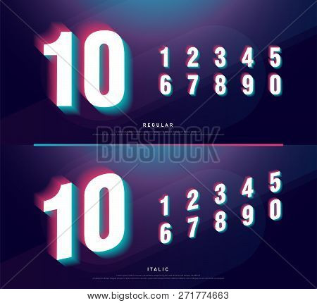 Glitched Numbers Alphabet Font Design. Number Headline, Typeface, Logo, Fonts Letters And Numbers. T