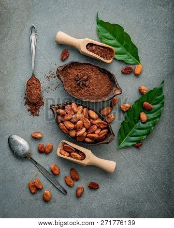 Cocoa Powder And Cacao Beans On Concrete Background.