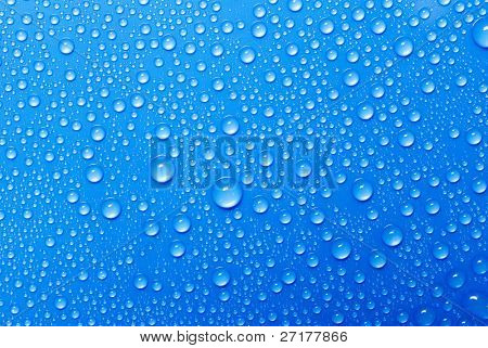 water drops on a blue glass