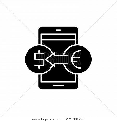 Online Currency Exchange Black Icon, Vector Sign On Isolated Background. Online Currency Exchange Co