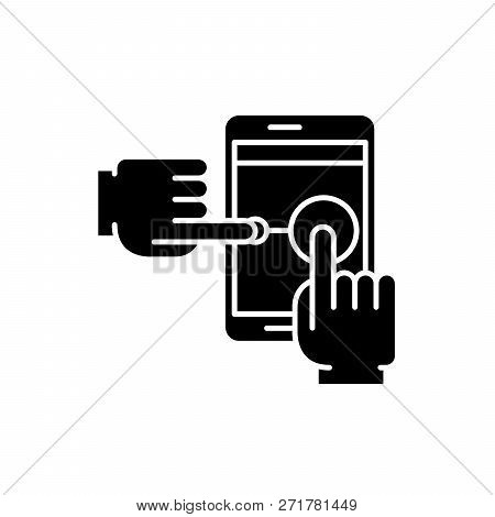 Multi Touch Black Icon, Vector Sign On Isolated Background. Multi Touch Concept Symbol, Illustration