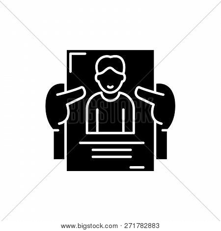 Personnel Management Black Icon, Vector Sign On Isolated Background. Personnel Management Concept Sy