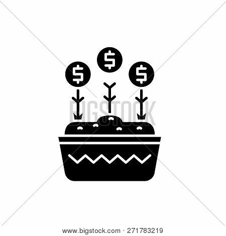 Investment Growth Black Icon, Vector Sign On Isolated Background. Investment Growth Concept Symbol,