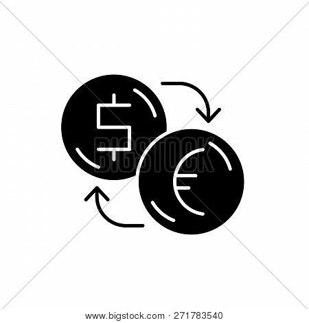 Exchange Of Dollars For Euros Black Icon, Vector Sign On Isolated Background. Exchange Of Dollars Fo
