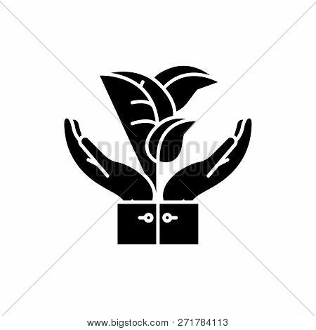 Flora Support Black Icon, Vector Sign On Isolated Background. Flora Support Concept Symbol, Illustra