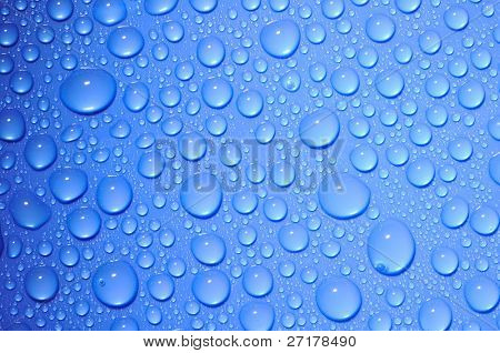 blue water drops on glass