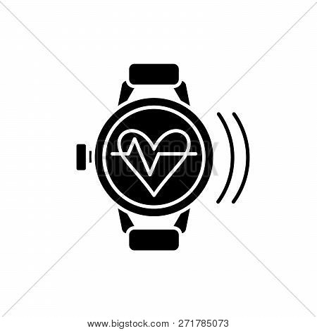 Smart Watch With Pulse Black Icon, Vector Sign On Isolated Background. Smart Watch With Pulse Concep