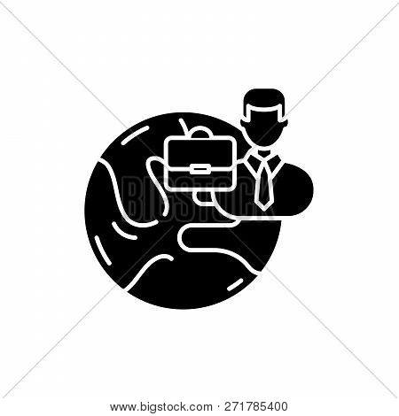 International Business Black Icon, Vector Sign On Isolated Background. International Business Concep
