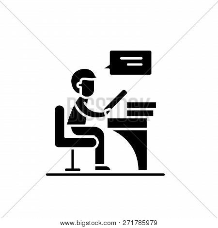 Reader Black Icon, Vector Sign On Isolated Background. Reader Concept Symbol, Illustration