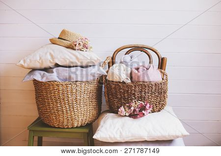 Cozy Still Life Interior Details. Organizing Clothes In Wicker Backets, Seasonal Wardrobe Cleaning,