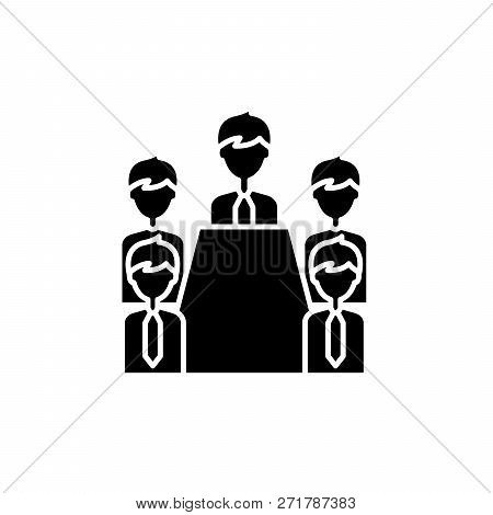 Board Of Directors Black Icon, Vector Sign On Isolated Background. Board Of Directors Concept Symbol