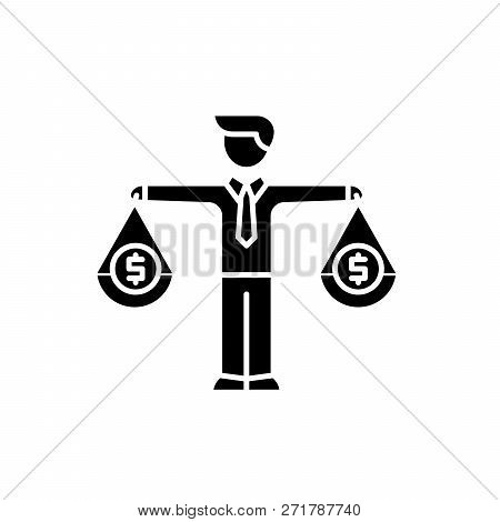 Financial Investments Black Icon, Vector Sign On Isolated Background. Financial Investments Concept