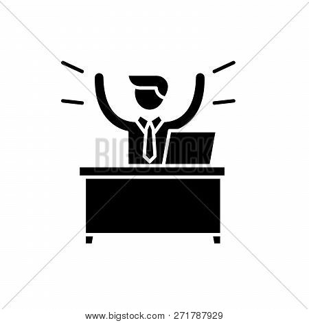 Business Win Black Icon, Vector Sign On Isolated Background. Business Win Concept Symbol, Illustrati