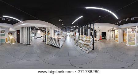 Minsk, Belarus - June 2017: Panorama 360 Angle View In Interior Modern Ceramic Tile Shop, Showroom B