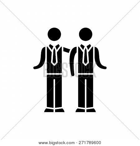 Partnership Black Icon, Vector Sign On Isolated Background. Partnership Concept Symbol, Illustration