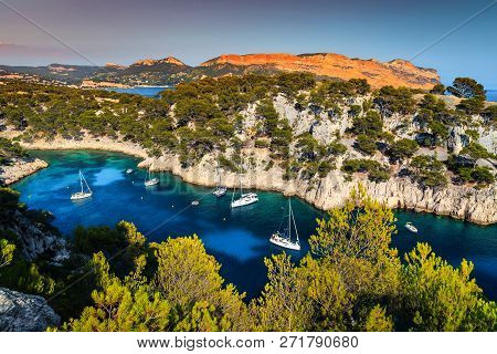Beautiful Mediterranean Travel Destination, Calanques De Port Pin Bay With Luxury Yachts Harbor And