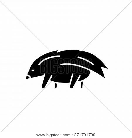 Porcupine Black Icon, Vector Sign On Isolated Background. Porcupine Concept Symbol, Illustration