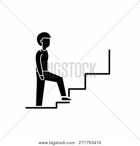 Step By Step Solutions Black Icon, Vector Sign On Isolated Background. Step By Step Solutions Concep