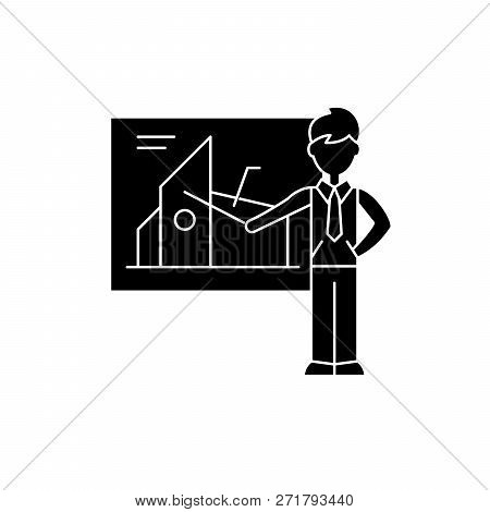 Financial Presentation Black Icon, Vector Sign On Isolated Background. Financial Presentation Concep
