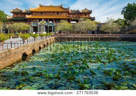 Hue, Vietnam - November 17, 2018: Imperial Royal Palace Of Nguyen Dynasty In Hue, Vietnam. Unesco Wo